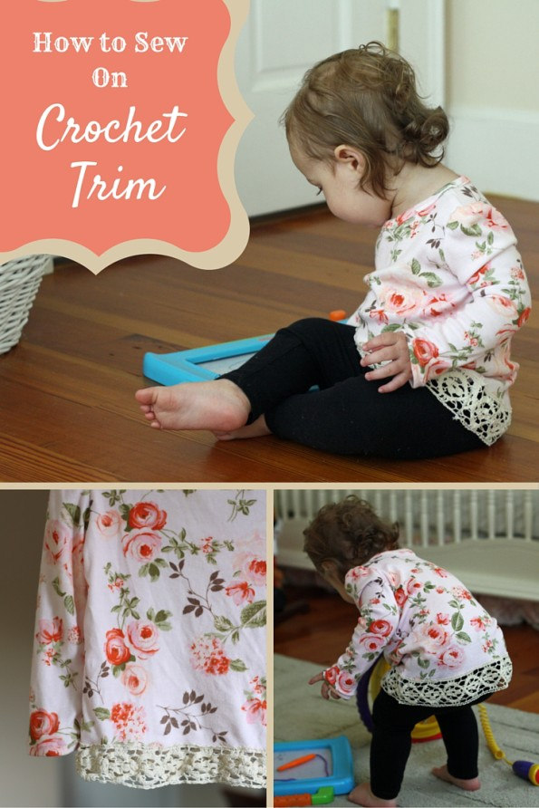 Floral shirt with crochet trim