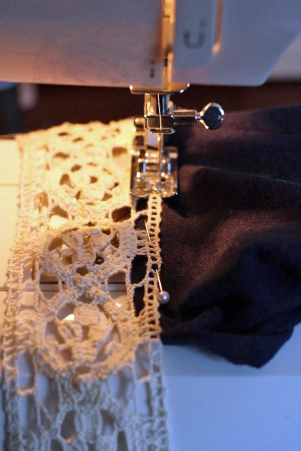 Adding crochet trim to a shirt