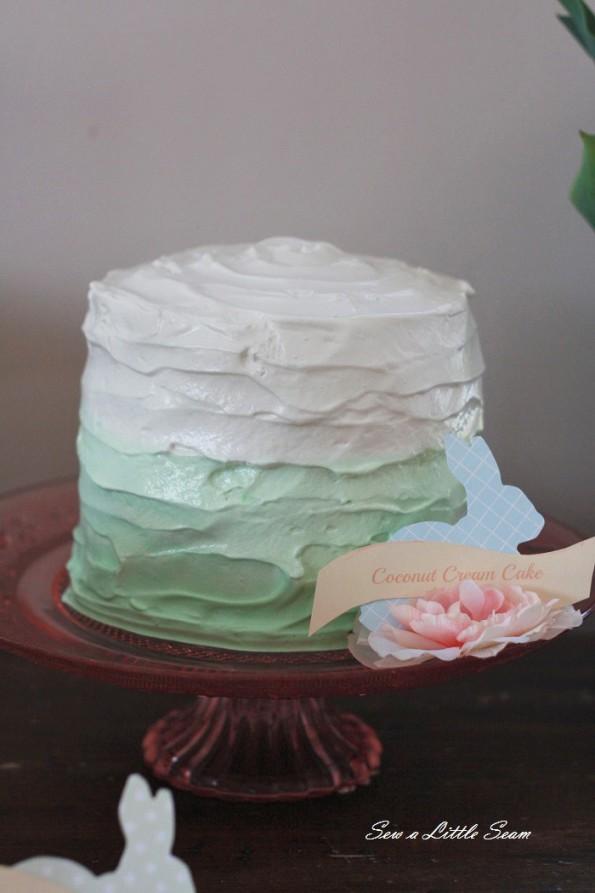 sewalittleseam.com, bunny birthday, green ombre cake