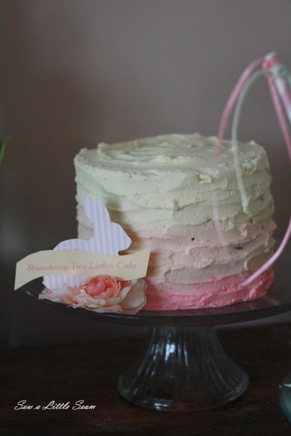 sewalittleseam.com, bunny birthday, pink ombre cake