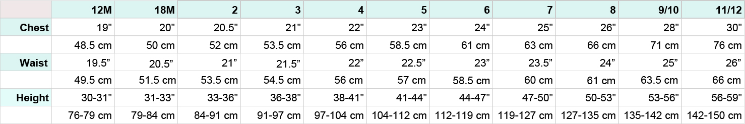 SALS Children's Size Chart - Chest, Waist Height