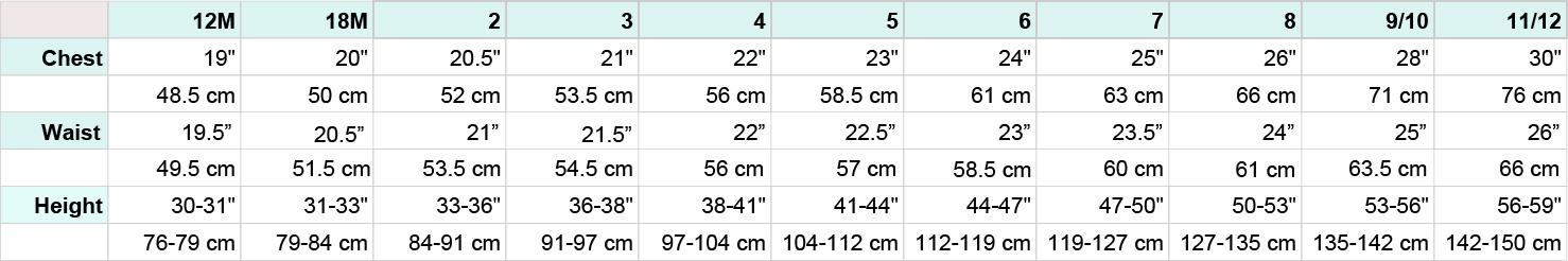 SALS Children's Size Chart - Chest, Waist Height