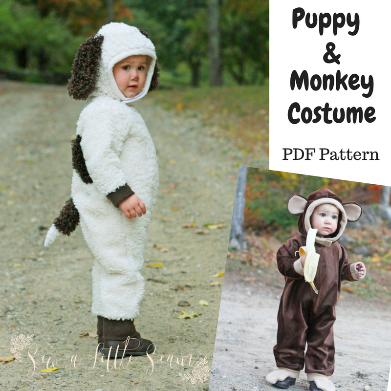 2T Animal Costume (Puppy and Monkey) - Sew a Little Seam