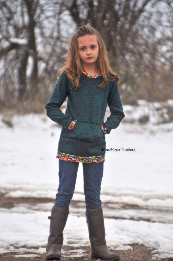 Long sleeve tunic with pocket and bands