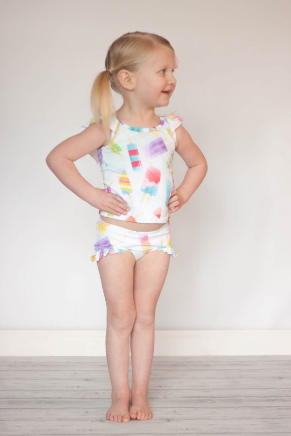 RI Size 2 Scoop back and boy shorts with ruffle