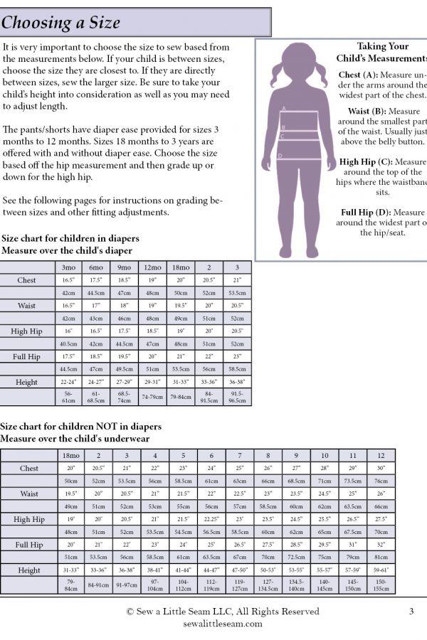 Nightingale Size Chart 3mo-12yrs